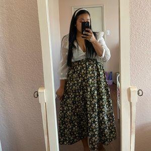 TOPSHOP Black Floral Midi Skirt